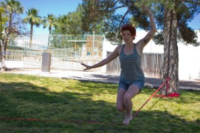 Ashley Fortune, 25, used slack line, similar to tightrope walking, to work on her core strength and to meditate at Himmel Park in Tucson on a mild Monday afternoon.