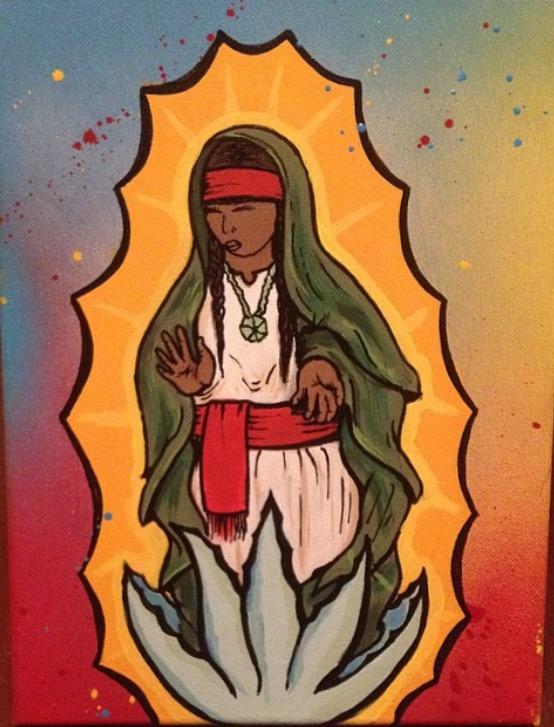"""""""Coatlique Tonanzin"""" es la obra del artista Tucsonense Jacob Robles. Materiales usados: pintura acrilica, spray y marcadores."""