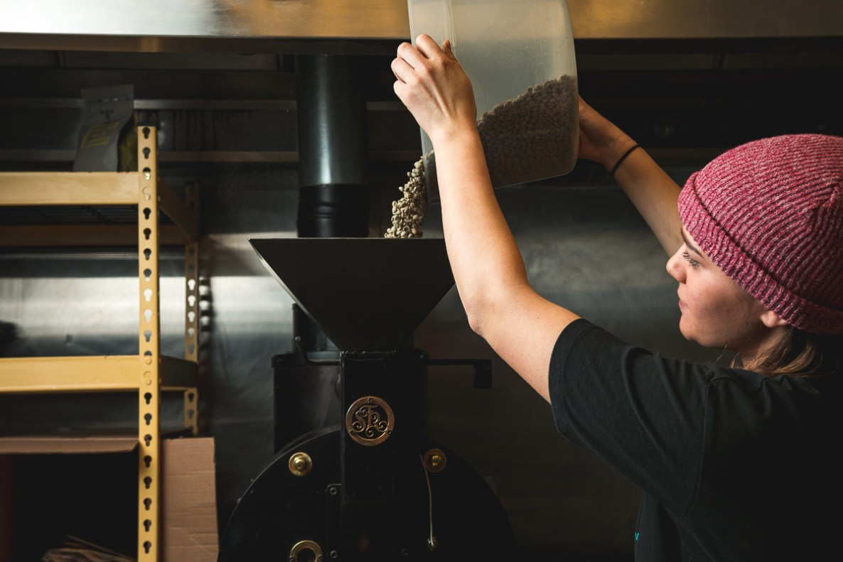 Coffee beans roasting at Yellow Brick Coffee (Credit: Jackie Tran)