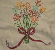 This is the piece I had my friend draw for me. It's also the first piece I had embroidered for a long time and I'm quite proud of it. You may notice there's some dirt on it. That's because I use the towels I embroider and I feel strongly that they should be used. I make some fiber art just to be art but I really like to make all of my stuff tough enough to be handled and interacted with. And if I make something that has a purpose I want it to be used.