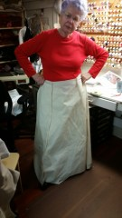 My mother modeling the look of the skirt for me