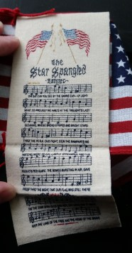 This one is really cool, it's the music/lyrics for the Star Spangled Banner, which folds up into a flag