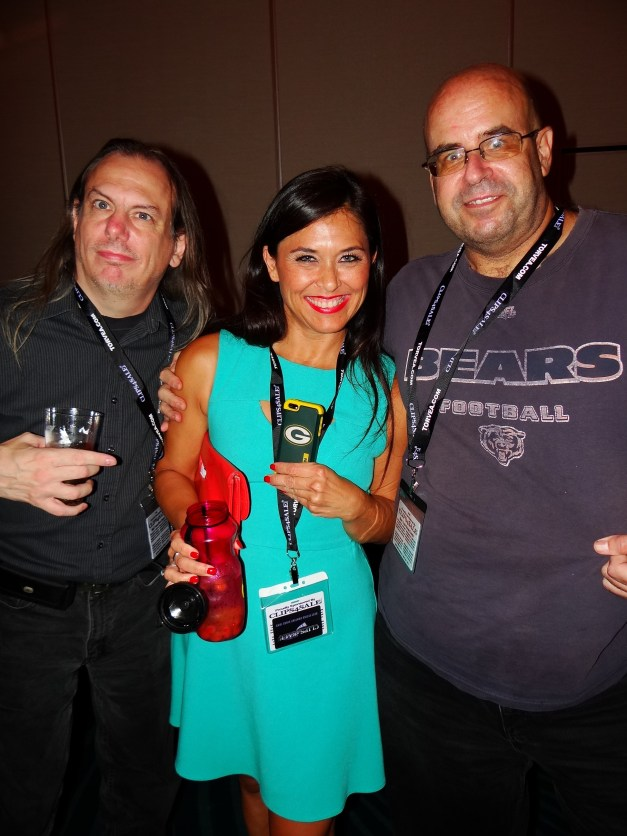 "Green Bay Packers (ugh) fan Tomiko with me and LooseCannon666 (producer).  I'm trying here to get her to see the light and go ""Bears""...I bet it doesn't happen.  :P"