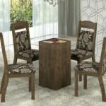 Mesa Tampo De Vidro 4 Cadeiras Decoracao Flores R 849 00 A Vista