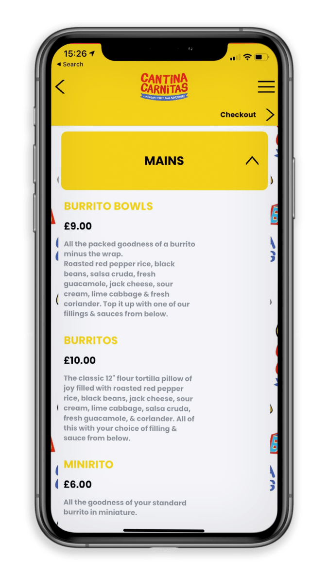 iphone mockup and cantina carnitas app with logo, menu, products, pricing and background