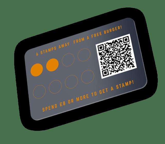 Fupburger Loyalty Card Dark Blue Mockup QR Code and stamps