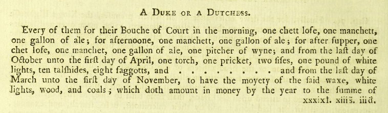 Bouche of Court for a Duke or Duchess, including talshides of firewood