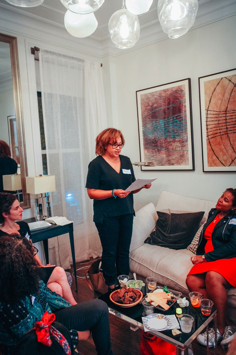 Kristin Booker reads her piece about her switching from a corporate gig to a beauty blogging career