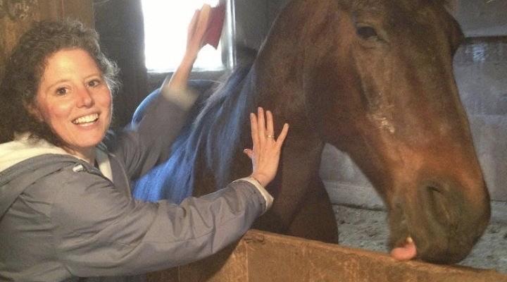 Randi brushing a horse.