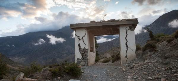 A stone gate cracked by an earthquake