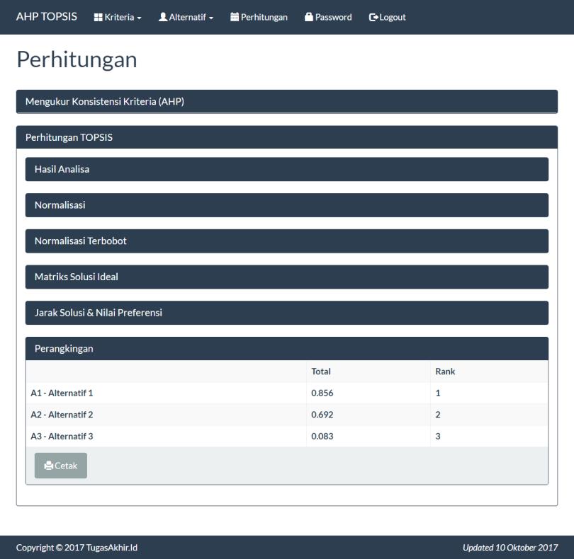 SPK Metode AHP TOPSIS PHP Perhitungan