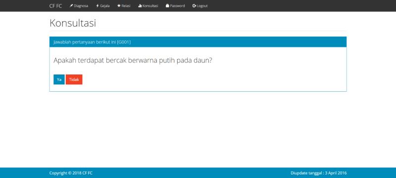 Source Code Sistem Pakar Certainty Factor Forward Chaining PHP Konsultasi