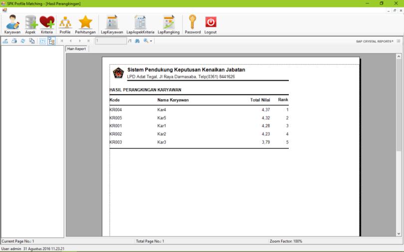 SPK Metode Profile Matching VB Laporan Rangking