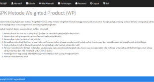 SPK Metode Weighted Product dengan PHP