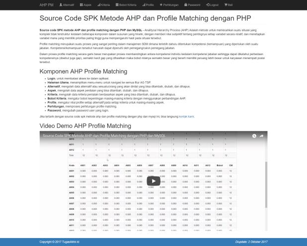 Halaman Utama AHP Profile Matching