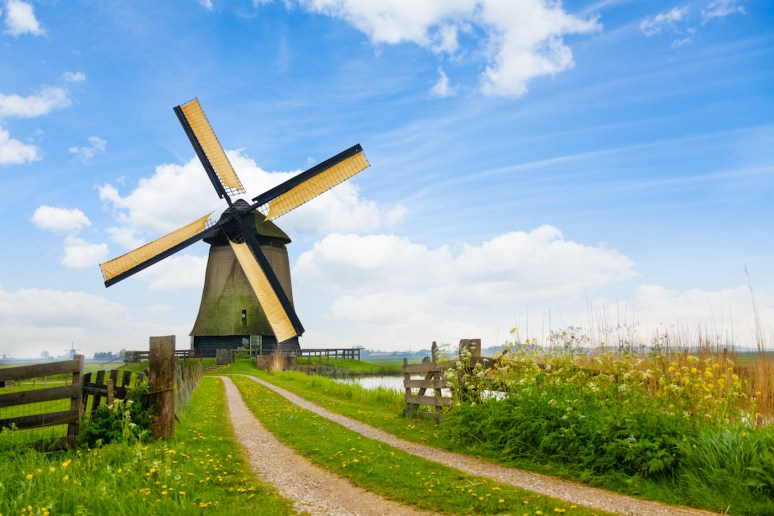 Old windmills for arrogation in Rustenburg in Holland, Europe