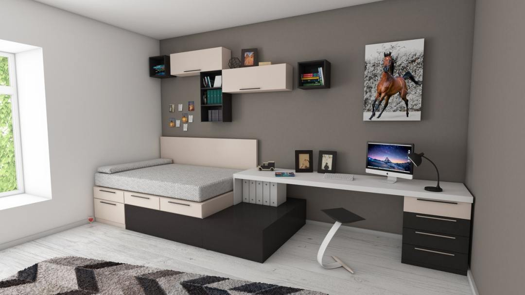 White and black desk beside bed and window