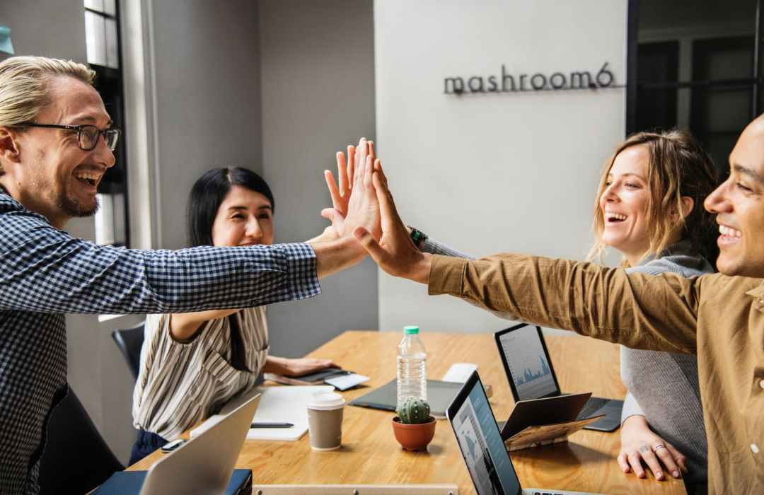 employee having a good time with each other