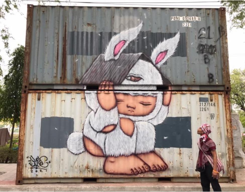 Arte callejero de Alex Face en Tailandia.
