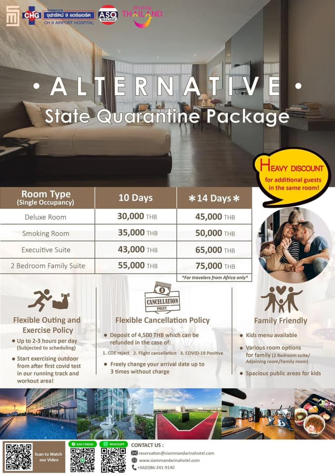 YA EN CURSO: REDUCCIÓN DE DÍAS Y COSTES DE LOS HOTELES CUARENTENA EN TAILANDIA.