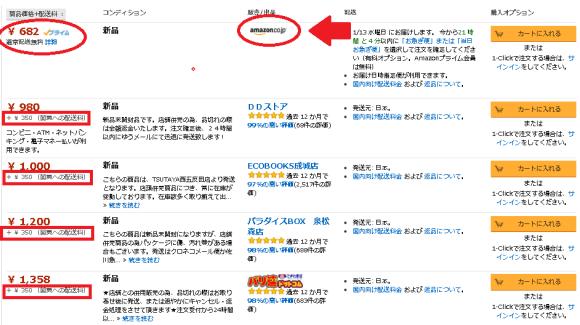 amazonとそれ以外の送料表示
