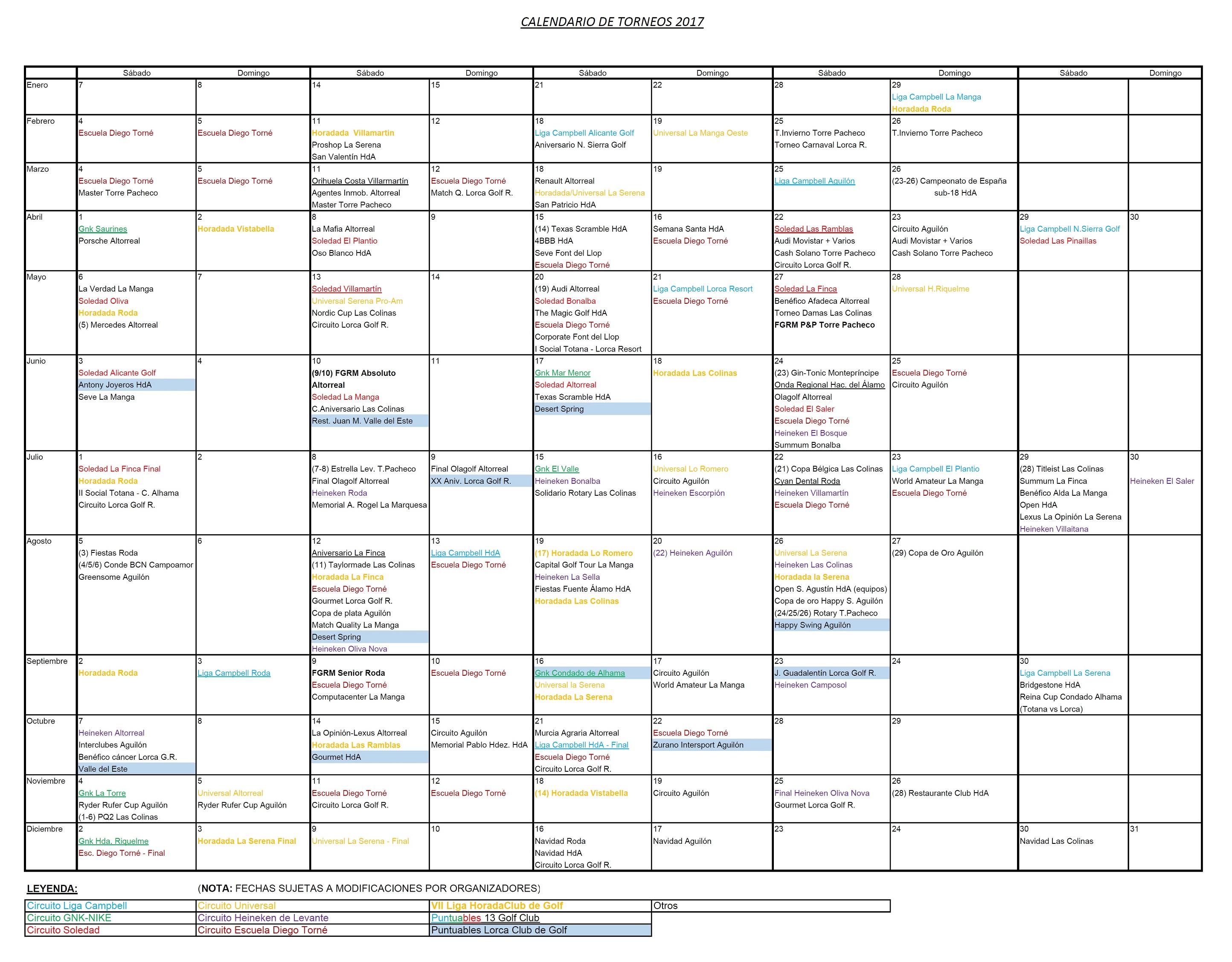 170718 Actualización de Calendario de Torneos