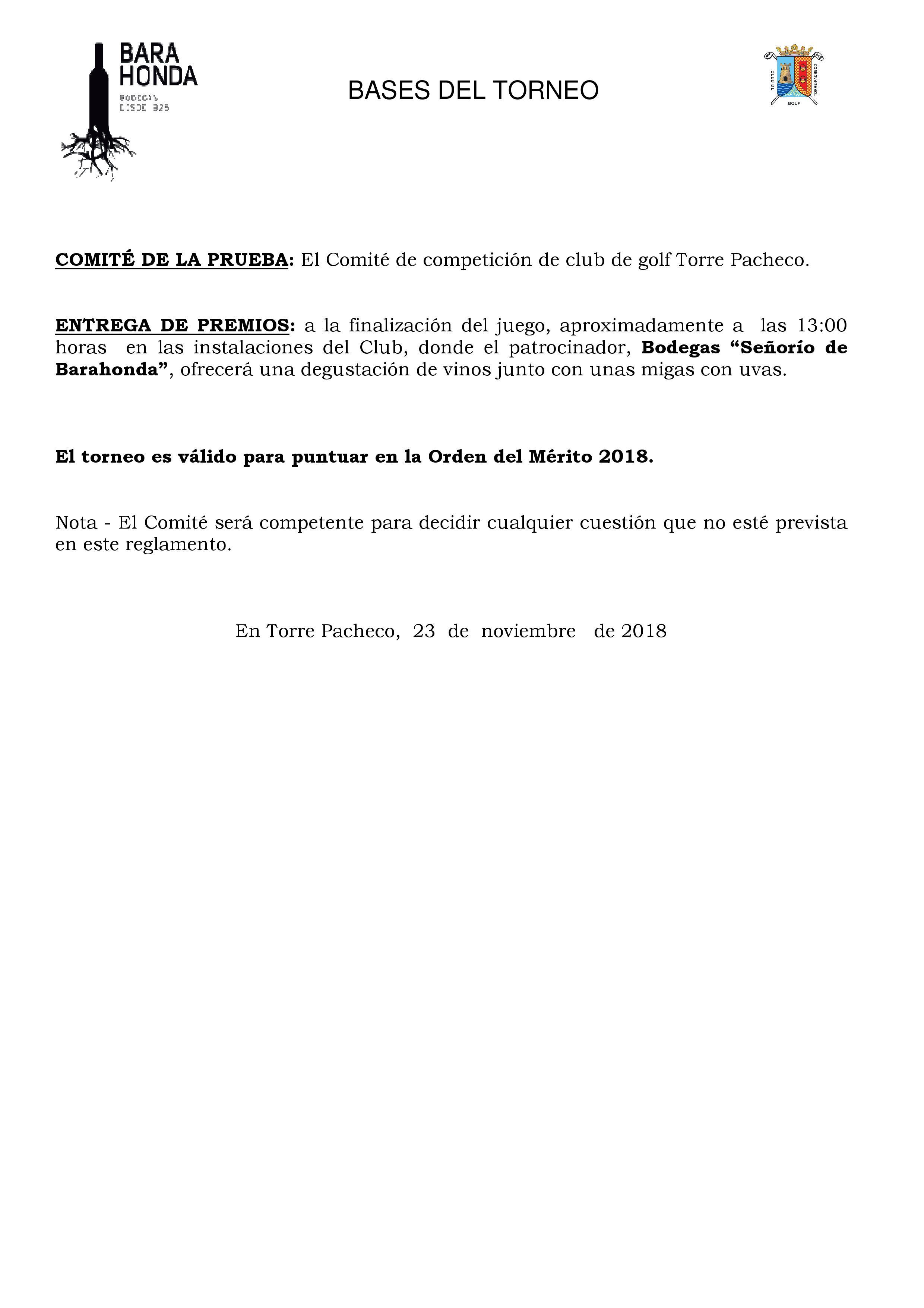 181216 TPA, Reglamento del torneo (2)
