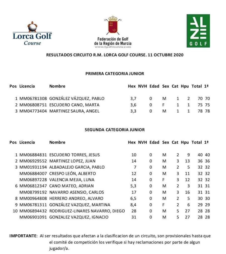 201011 LOR, Clasificación del torneo (1)
