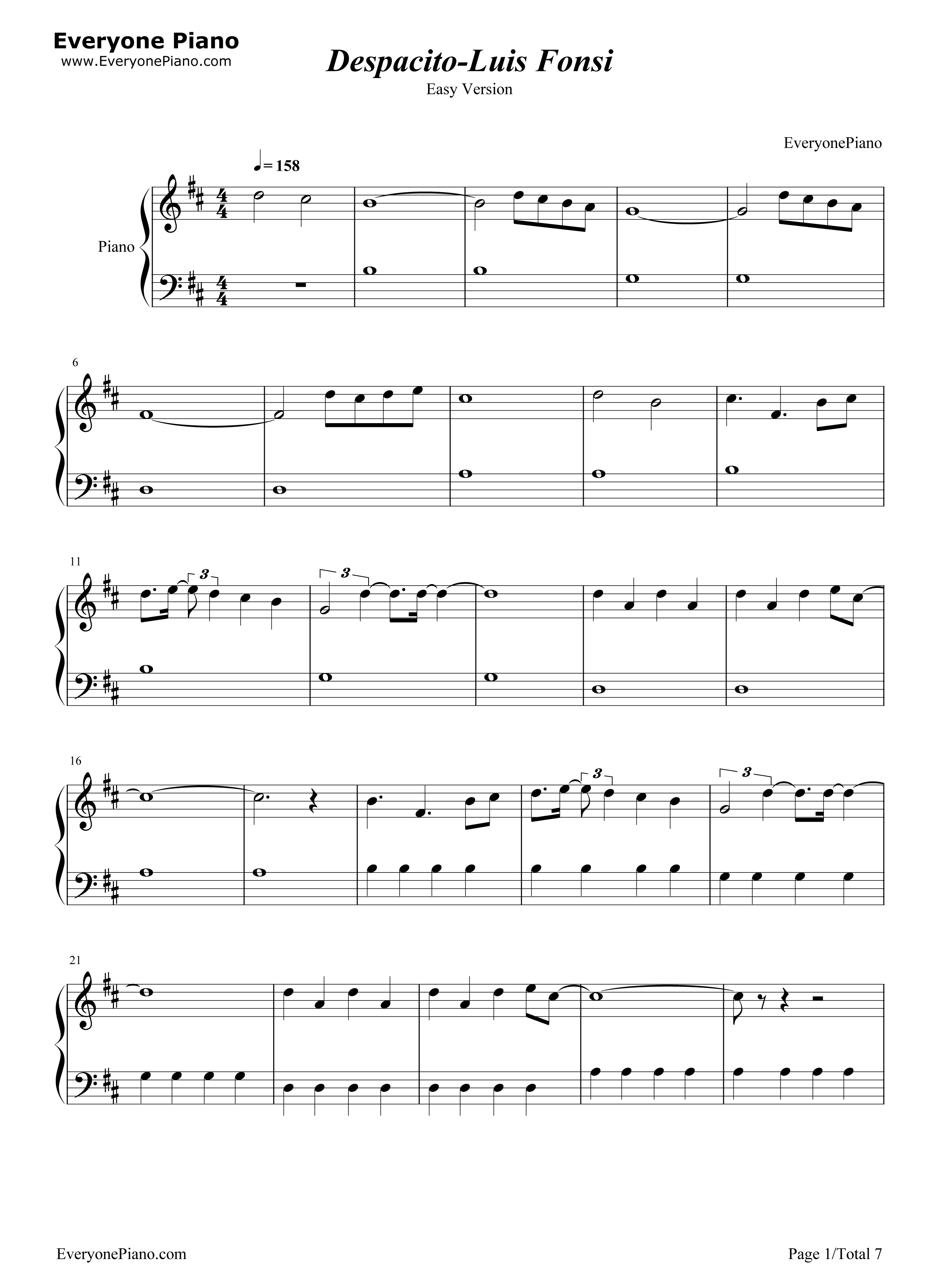 Piano Sheet Despacito