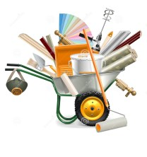 vectorkruiwagen-met-het-schilderen-van-hulpmiddelen-61078431