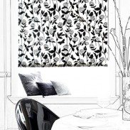 This classic combination of black on white is simply stunning. Black chrysanthemums are seen reaching up for the light, look carefully and you will spot a butterfly in full flight or taking a rest. The jet black is given a stylish lift with a subtle silver sparkle.  This blind lends itself to so many situations. It can be used to focus the eye in an otherwise white room or alternatively relieve a darker scheme with some much needed white. The unusual patterning of the blind will equally suit many rooms in the home, from a sophisticated formal dining room to a light and airy bedroom.