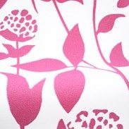 Fleurista Pink :: The pattern on this blind is picked out in hot pink on a white background giving Fleurista Pink an upbeat and cheery quality. Stretching florals reach for the light and are adorned by the occasional resting butterfly. The curving sinuous lines stop this blind from being too showy and lend it both elegance and grace.  The colour and pattern makes Fleurista Pink quite a feminine blind. An obvious choice would be the bedroom of a teenage girl but it would also complement living areas, particularly those styled with stark whites and shots of vivid colours.
