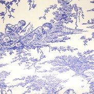 Toile Wedgewood :: This roller blind is so elegant with its tasteful toile pattern in Wedgwood blue. Look closely and you will see that the pattern sets a tranquil rural scene of restful country pursuits.  The timelessness of Toile Wedgwood will clearly suit a traditionally styled space particularly ones where blue plays a part in the colour scheme. Don't ignore the opportunity to hang this blind in a modern setting though to give a quirky and retro twist.