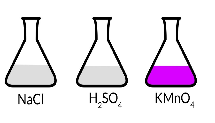 Sodium chloride react with potassium permanganate and sulfuric acid