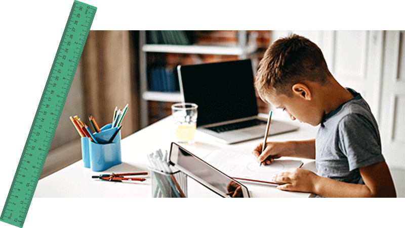 Young boy during maths tutoring