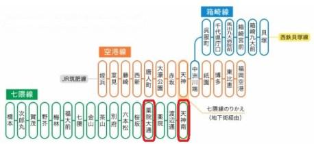 福岡市内の地下鉄路線図