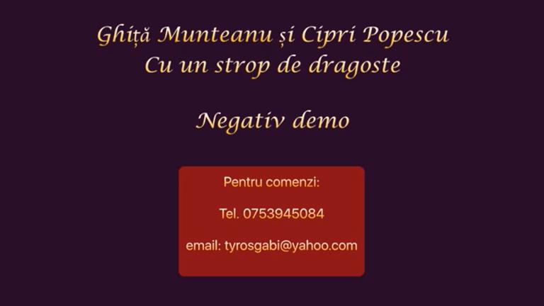 Cu un strop de dragoste – Ghita Munteanu – Negativ Karaoke Demo by Gabriel Gheorghiu