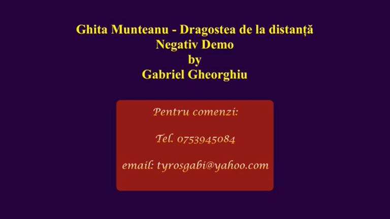 Dragostea de la distanta – Ghita Munteanu – Negativ Karaoke Demo by Gabriel Gheorghiu