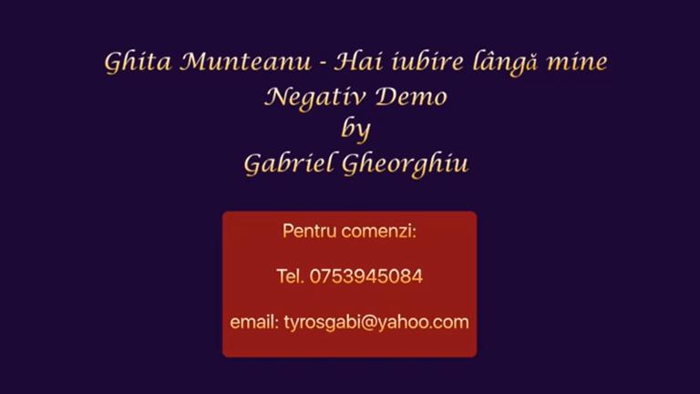 Hai iubire langa mine – Ghita Munteanu – Negativ Karaoke Demo by Gabriel Gheorghiu