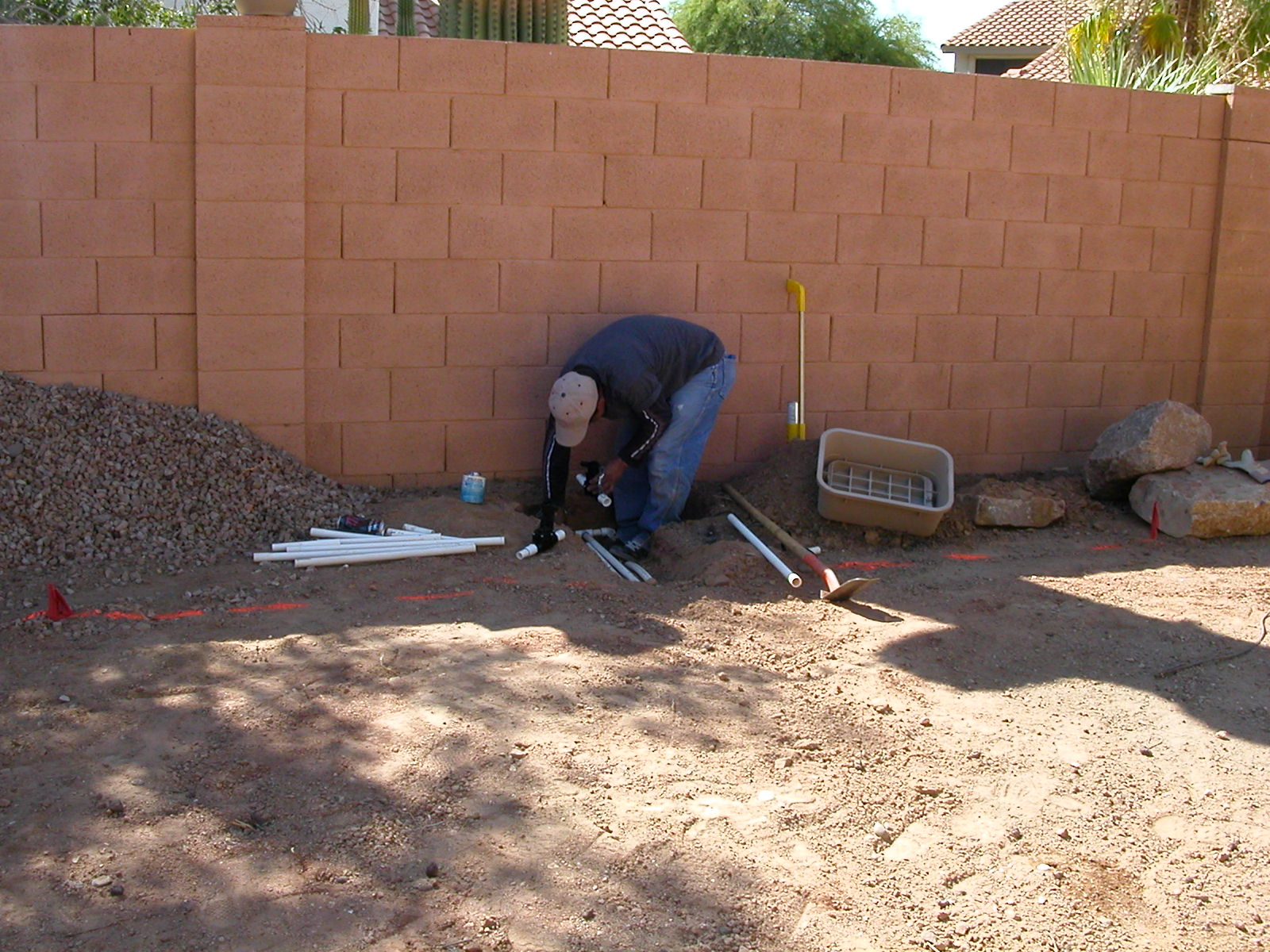 Installing backyard sprinkler box