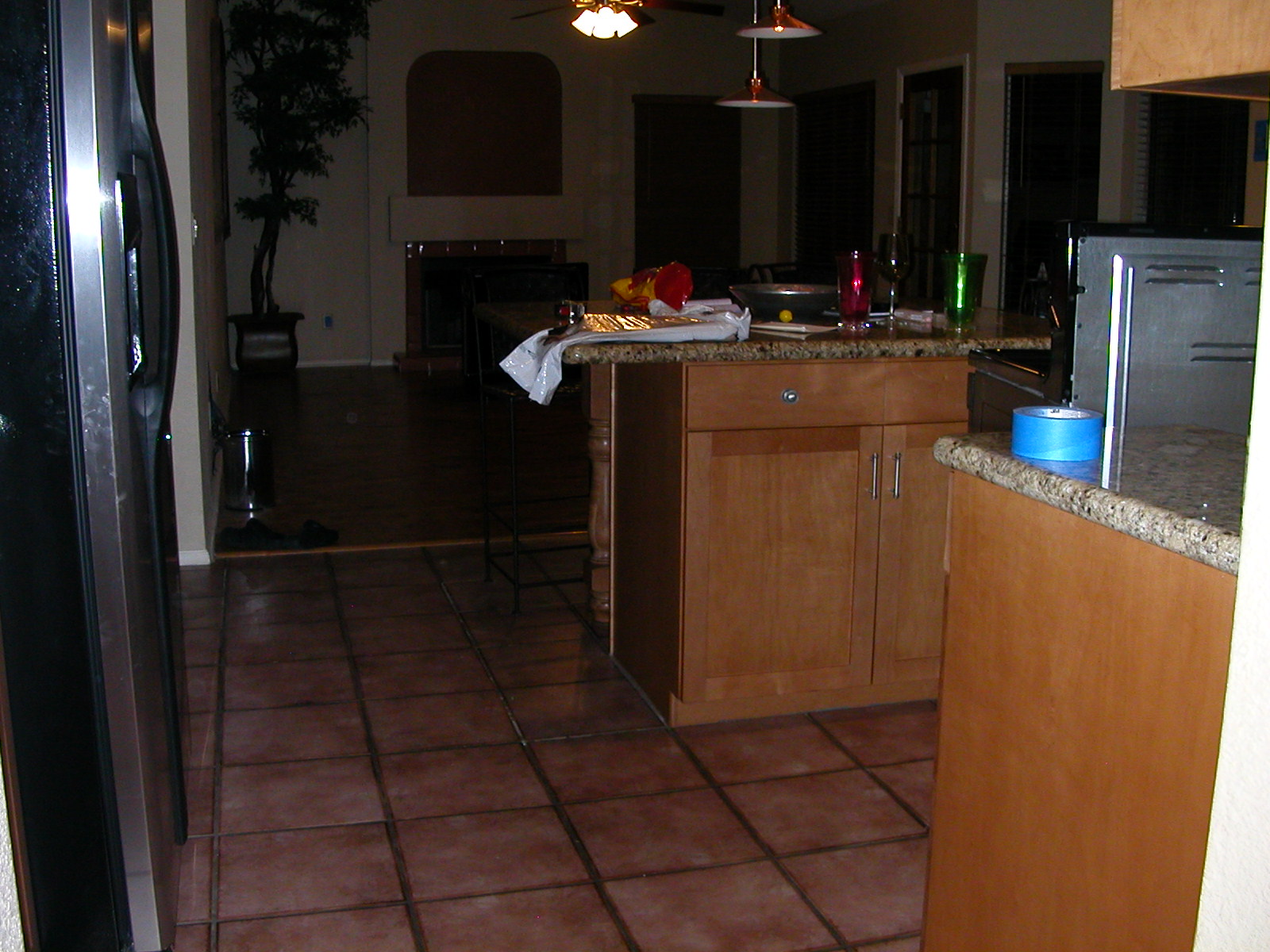 View of kitchen to family room