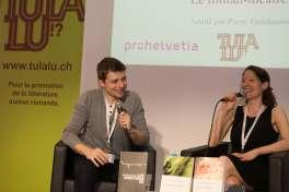 Pierric Tenthorey et Anne-Frédérique Rochat sur la scène de la Place suisse du Salon du livre de Genève © Sandra Hildebrandt