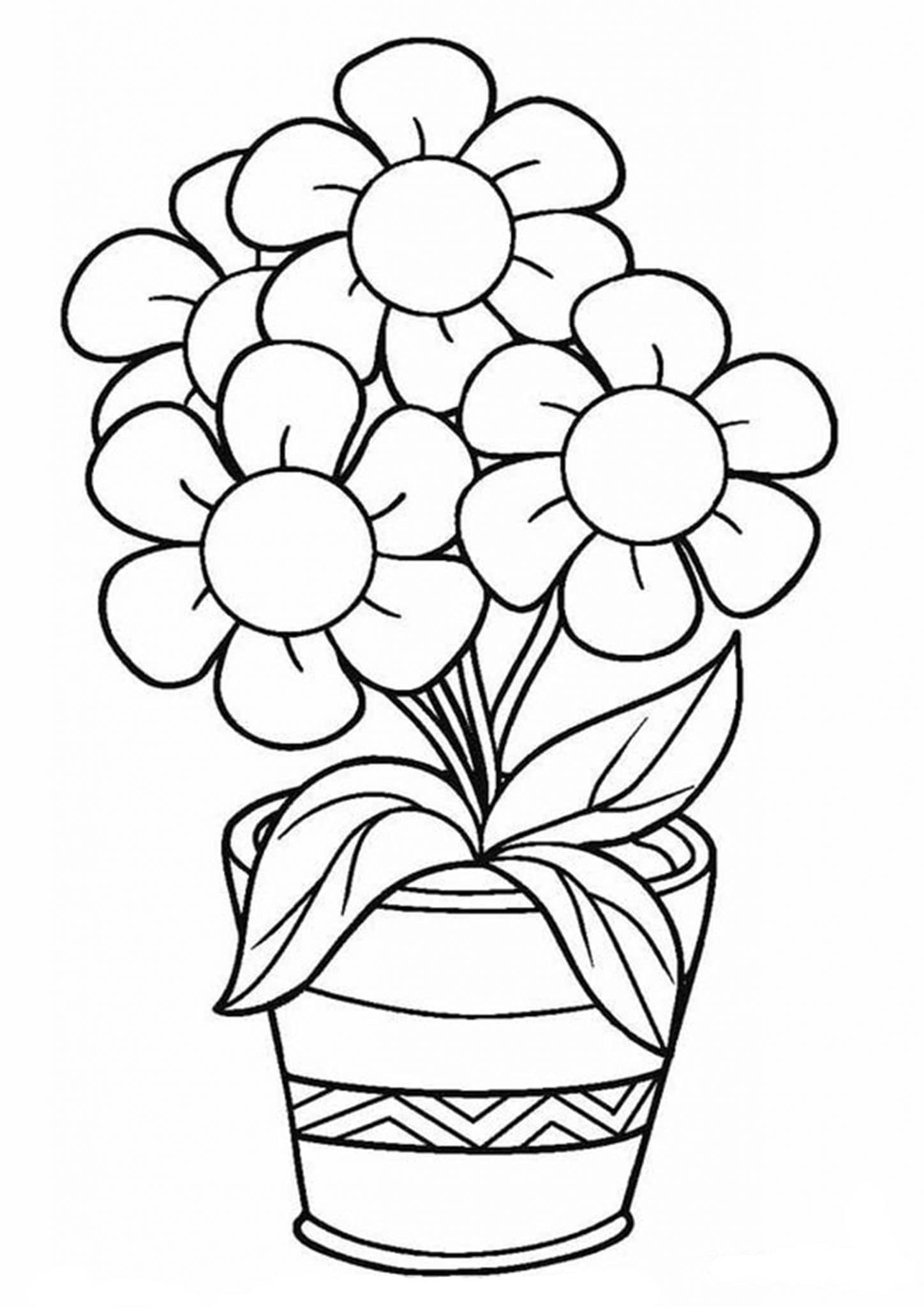 Free Amp Easy To Print Flower Coloring Pages