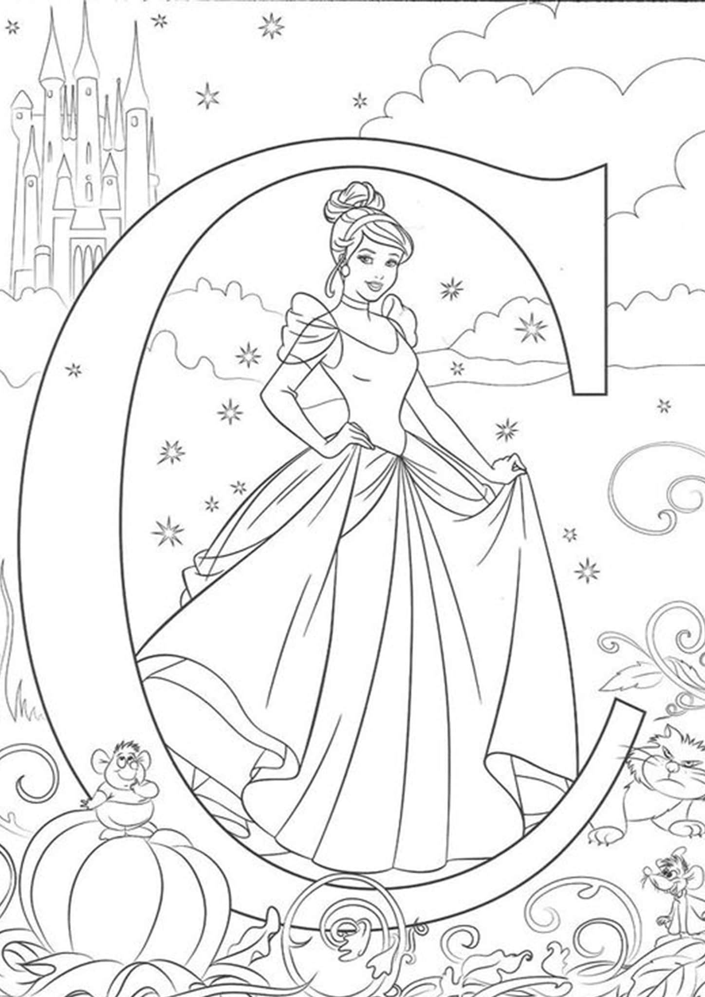 Free Amp Easy To Print Cinderella Coloring Pages
