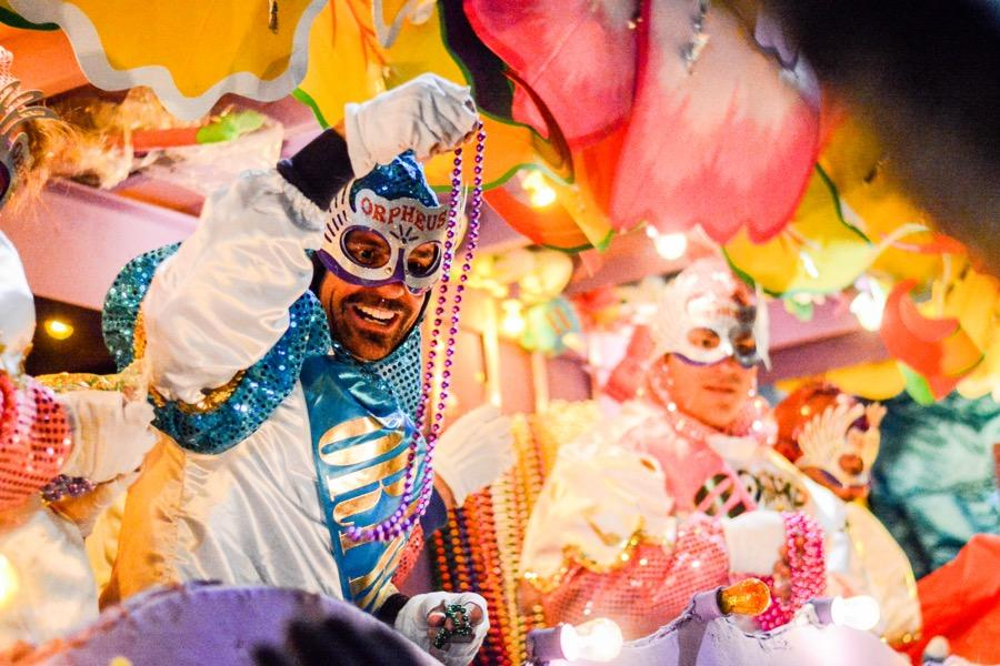 Patrons+on+floats+like+those+above+toss+throws+to+parade+attendants.+The+Krewe+of+Orpheus+is+one+of+the+parades+this+weekend+that+students+form+their+traditions+around.