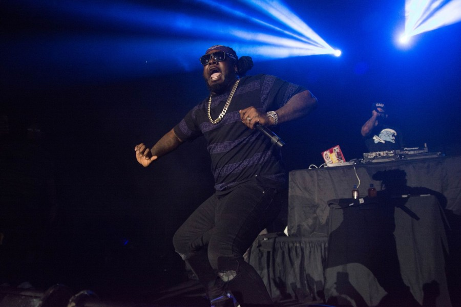 Rapper+T-Pain+performed+hits+like+%22Booty+Wurk+%28One+Cheek+at+a+Time%29%22+and+%22Bartender%22+at+his+show+April+6+in+Avron+B.+Fogelman+Arena+at+Devlin+Fieldhouse.