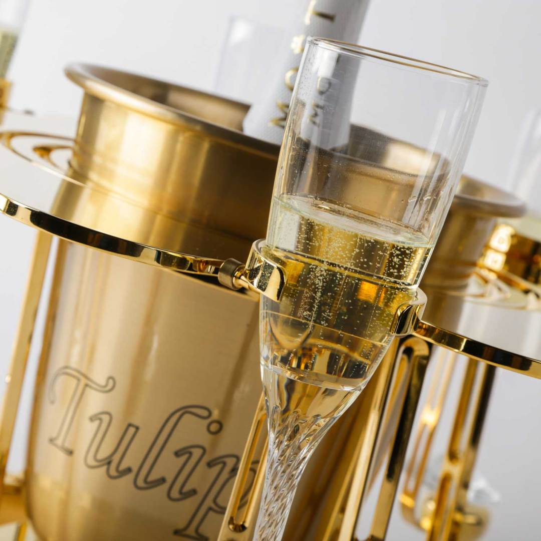Tulip By Germain luxury champagne bucket glass of champagne
