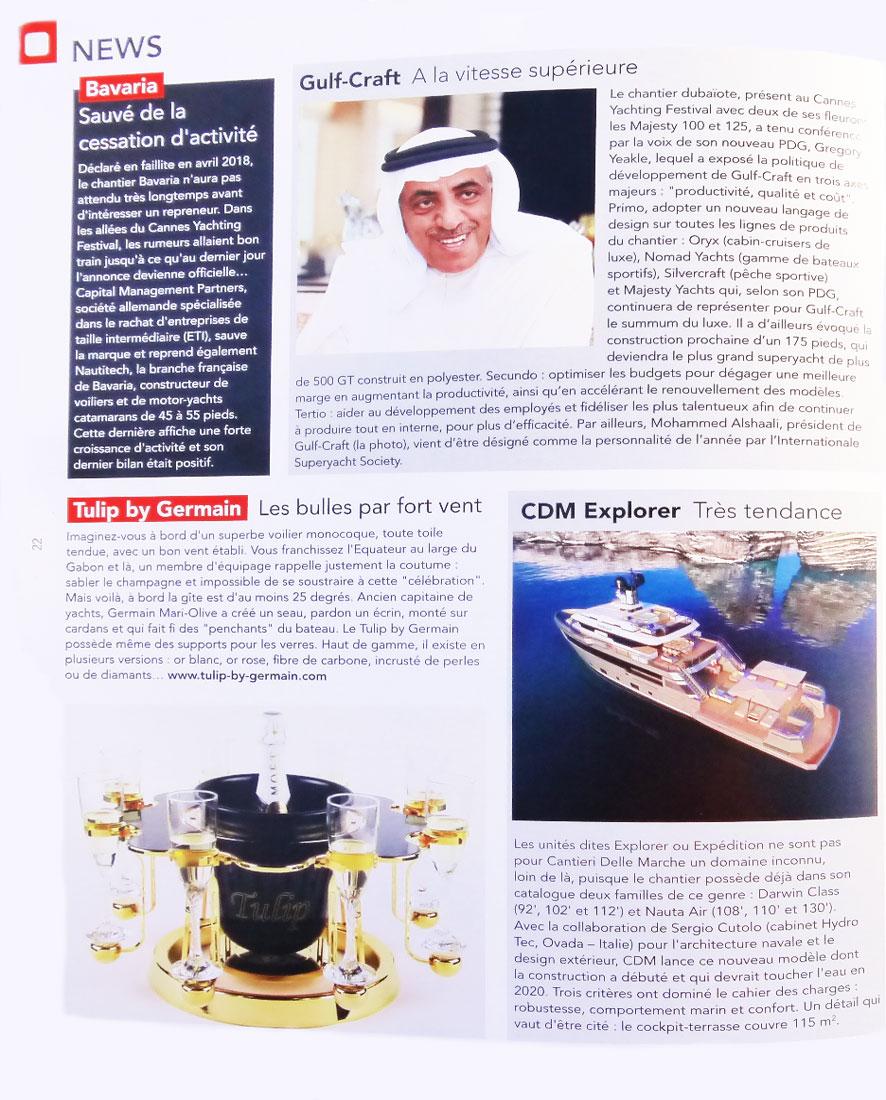 Yacht Class magazine article Luxury champagne bucket