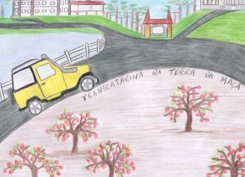 Crianças de Fraiburgo, SC, desenham como enxergam o Transcatarina (Divulgação-Feito por Lívia Doré Boscato)