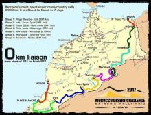 Roteiro das sete etapas do Rally do Marrocos, entre 17 e 23/4